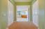 Master bed halway with 2 walking closets toward bathroom