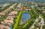 Aerial view of pond and neighborhood