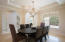 Formal Dining room w/coffered ceilings and double crown molding