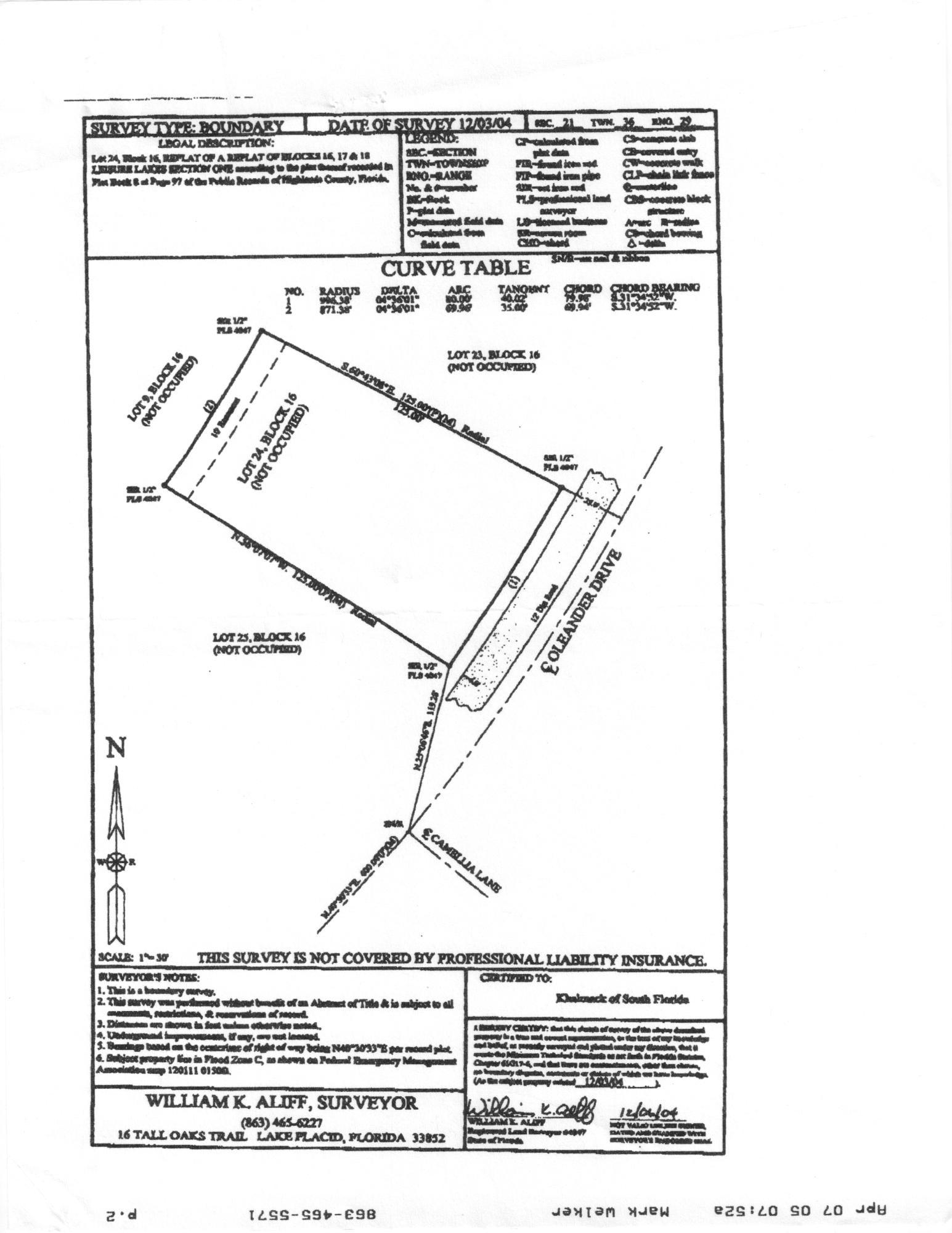 oleander property survey