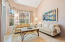 Living room w/ volume ceiling