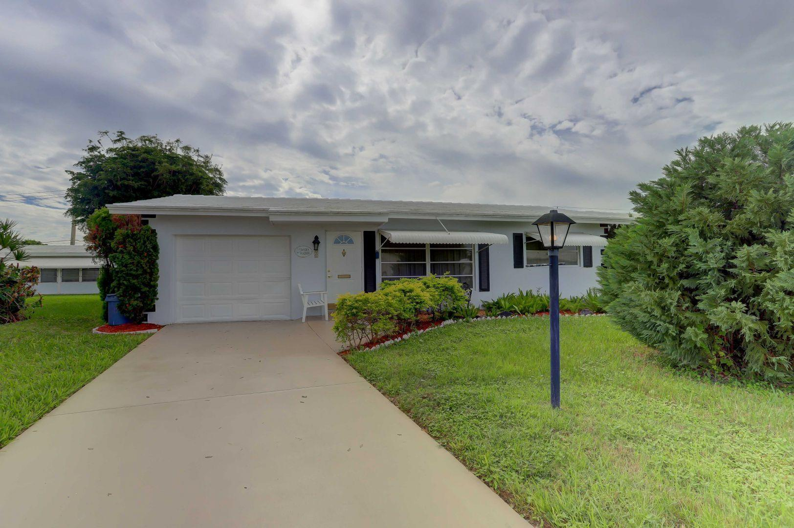 Come see this 2 bed and 1 bath Fairmont model in the Palm Beach Leisureville 55+ Community. Renovated club houses, heated pools, hot tubs, fitness center, and 18 hole/par 3 golf course. Furniture is negotiable. Renting Permitted Immediately.