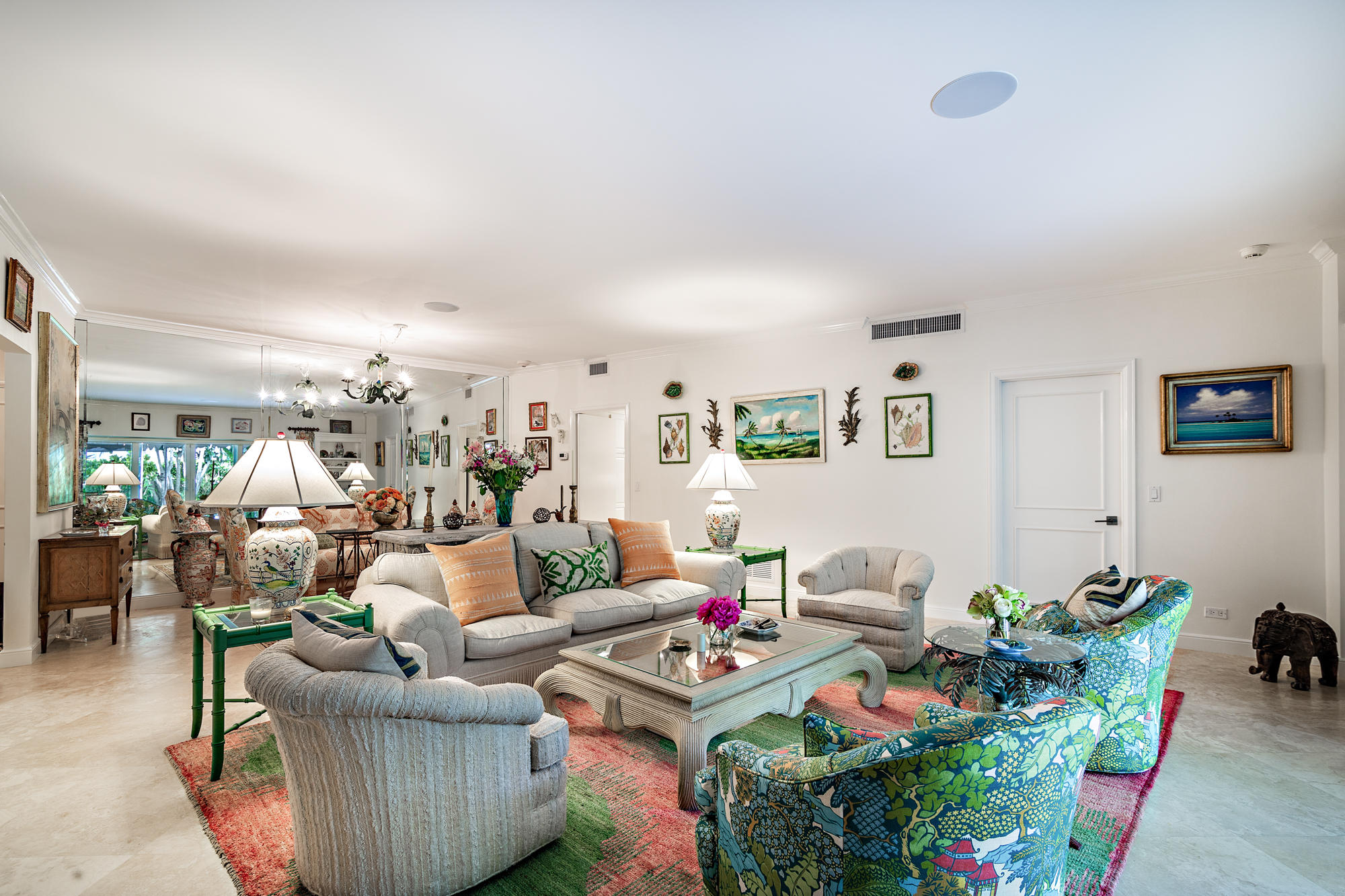 A sophisticated garden apartment with enormous covered loggia creates the ultimate Palm Beach lifestyle. This 2 bedroom, 2 bath apartment has impact glass sliding doors and is pet friendly. There is a washer & dryer in the unit. Included is a coveted covered parking space directly in front of the garden apartment.