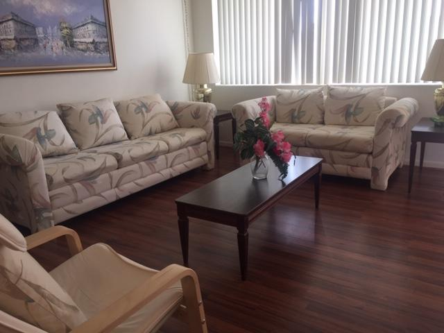 Beautiful 1/1 in 2nd floor, very private balcony with windows and garden view. Beautiful laminate floors throughout. Fully furnished. Hurricane shutters.Murry hills is 55+ community with lot of amnenities, huge heated pool, saunas etc. On site management. Security cameras and patrol.