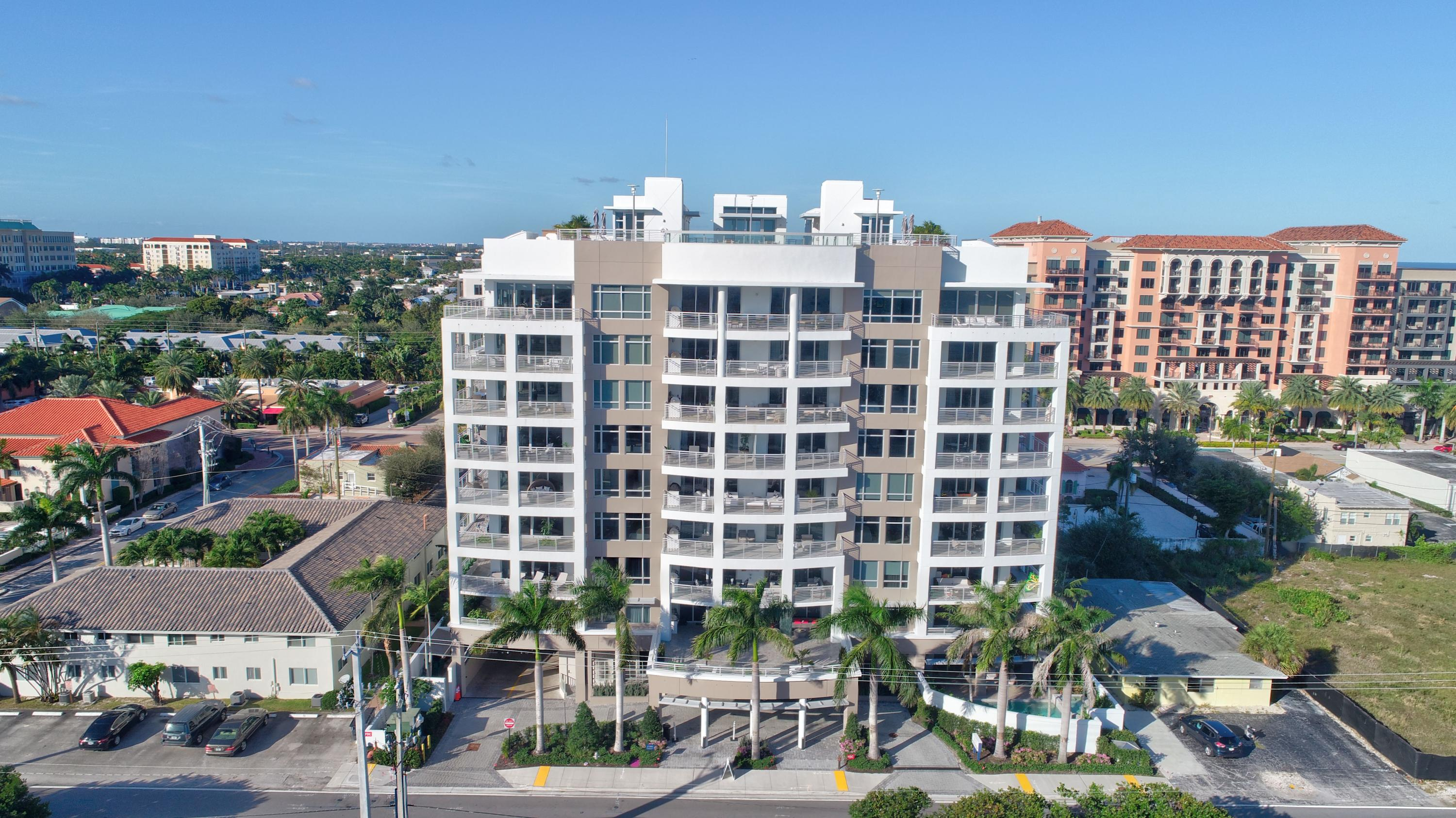 This elegant and contemporary condo is conveniently located between downtown Boca Raton and the beach close to Royal Palm Plaza, Mizner Park and the Boca Raton Resort. Only 24 exclusive units. Enter your personal oasis from the private elevator. Enjoy the expansive views from the wrap-around balcony.  3 bedrooms and 3.5 baths.   Every imaginable upgrade has been included--porcelanosa wood grain tile throughout, white quartz caesarstone counters in the kitchen and baths, motorized shades, Grohe faucelt, Wolf and Sub Zero kitchen appliances plus Viking beverage center to name but a few.  Built-in closets in each bedroom. Outdoor Wolf natural gas grill. Impact glass windows.  RTI audio system throughout.  Nest cameras strategically located.  The vibrant Boca lifestyle awaits!