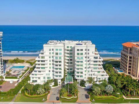 Easily Boca Raton's most exclusive address, this property is a unique opportunity to acquire more than 4,2000 sq.ft inside, and 1500 sq.ft of oceanfront terrace. This unit has undergone an extensive 18 month, $800,000 renovation down to the concrete. Easily becomes a 4 bedroom, all ceilings raised to max height, straight lines and clean modern open floor plan. An $80k window and collapsing door package has been installed, $60k custom cabinet package, flooring, and bathrooms are ready to install, and all materials are in place to complete unit. Only appliances need to be purchased. Property includes two parking spaces,  wide ocean views, and a beach front cabana under air with full bath.