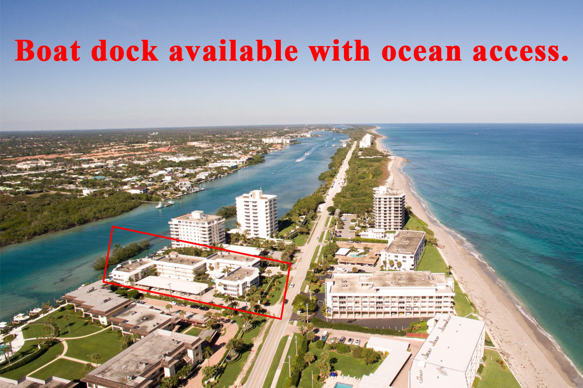 Located on the South end of Jupiter Island, this exquisitely renovated condo is located on the beautiful, turquoise, Intracoastal waterways directly across from the ocean. Completely updated with tile and wood floors throughout, new fixtures, A/C, impact windows, gorgeous bathrooms and kitchen. With an open and split floor plan, this 2 bedroom and 2 bath unit offers peaks of both the Intracoastal and Atlantic ocean, a separate office area off the master and private washer/dryer within the unit. Island House SW is a meticulously maintained building. Amenities include a 29' boat slips and dock (first come, first serve with 8 to 9 boat slips currently available, at no extra charge), deeded walkway to beach about 50 yards away, heated pool, elevator, car wash with softener, floating dock for swimming or launching water toys, kayak rack, bike rack, community ice maker and refrigeration, 2 gas grills, beautiful manicured grounds, picnic and tiki area directly on the Intracoastal, and full-time maintenance/supervisor. This unit comes with 1 covered parking spot and 2 storage units. The community pool area, pavers and roof have been redone. One small pet allowed. Conveniently located to great restaurants, shopping, public library, public transportation, golf, marinas, pristine beaches, and the Jupiter Inlet. Boat dock not deeded to unit, owned by the condo assoc. and paid in the Condo dues.