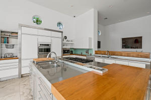 kitchen with butcher block counter tops