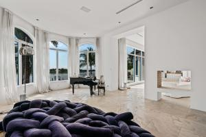 piano room/library and fireplace