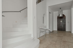 white painted wood stair way