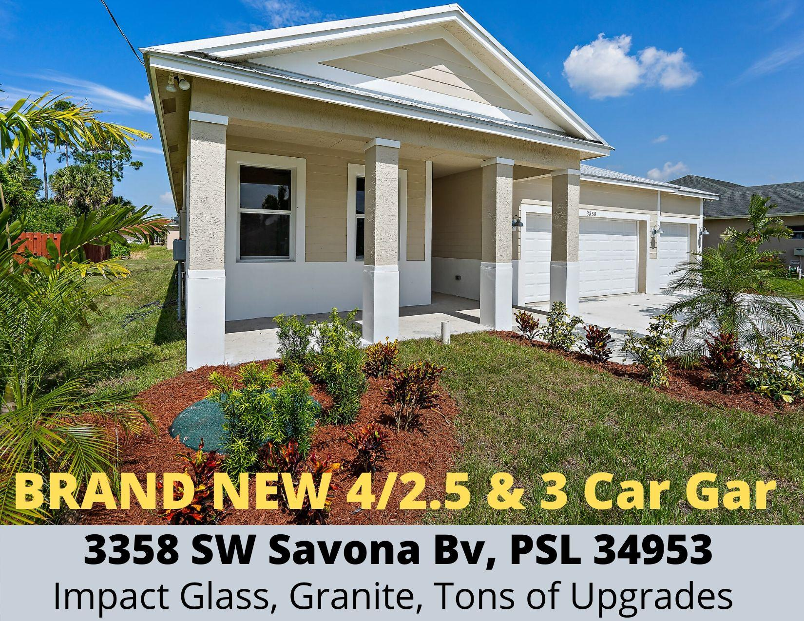 **GORGEOUS MOVE IN READY** BRAND NEW 4 bedroom, 2 & 1/2 bath, 3 car garage concrete home with all the bells & whistles. Metal roof, energy efficient with impact glass & spray foam insulation, granite counters & porcelain tile thru-out, stainless appliances, open floor-plan w/ 9' ceilings, lots of closets & storage, covered patio, city water/sewer! MUST SEE & BUY BEFORE ITS GONE!