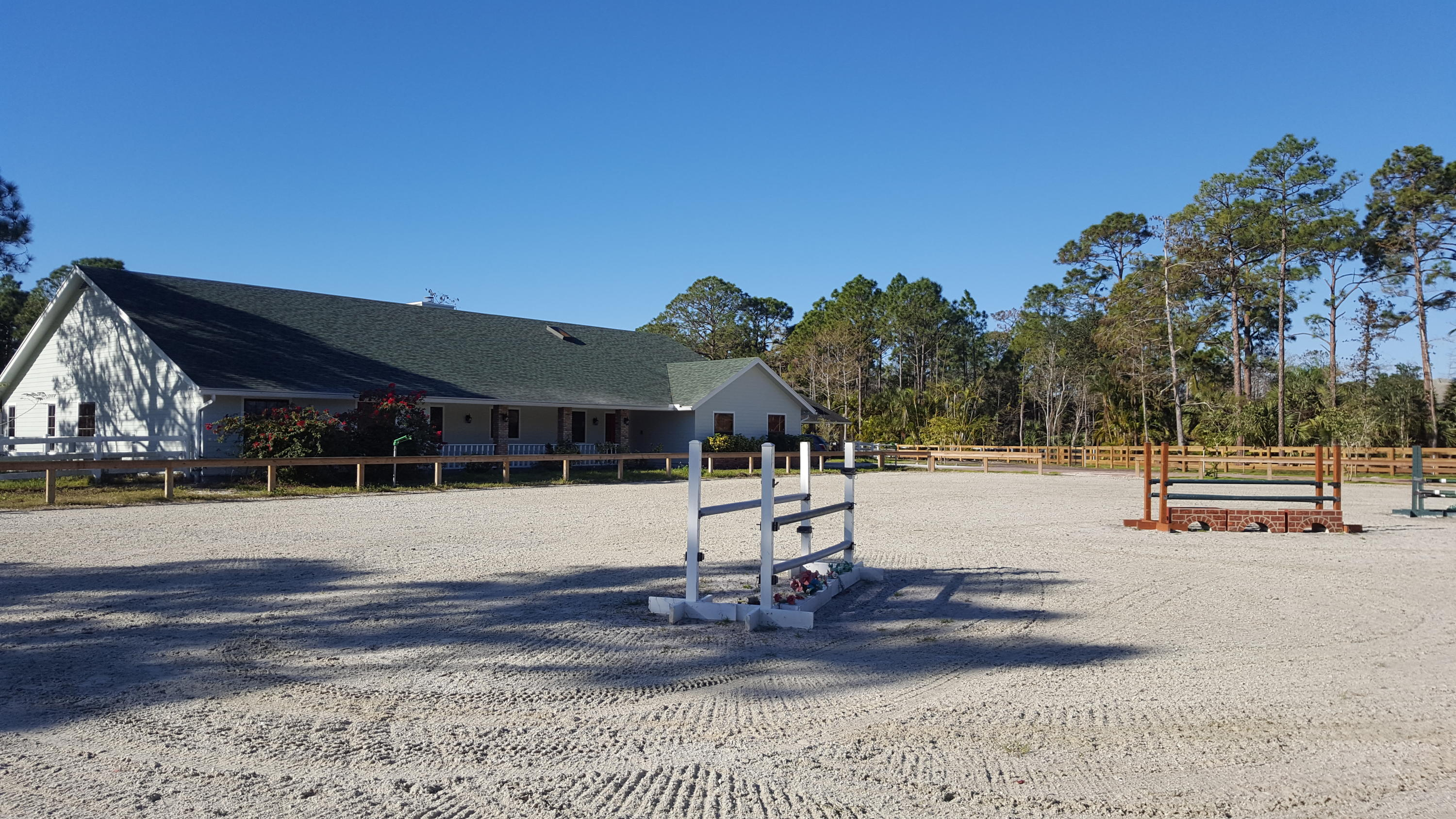 Front with large riding arena