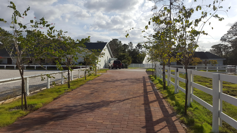 Paved driveway entrance