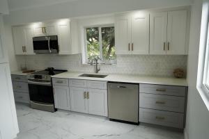 2 Tone Grey and White Custom Soft Close Cabinets