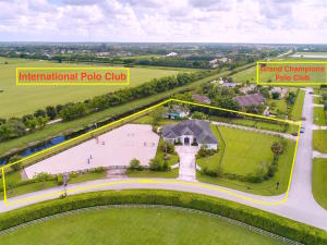 Aerial front of property showing location adjacent to IPC Field 5 and Grand Champions in rear