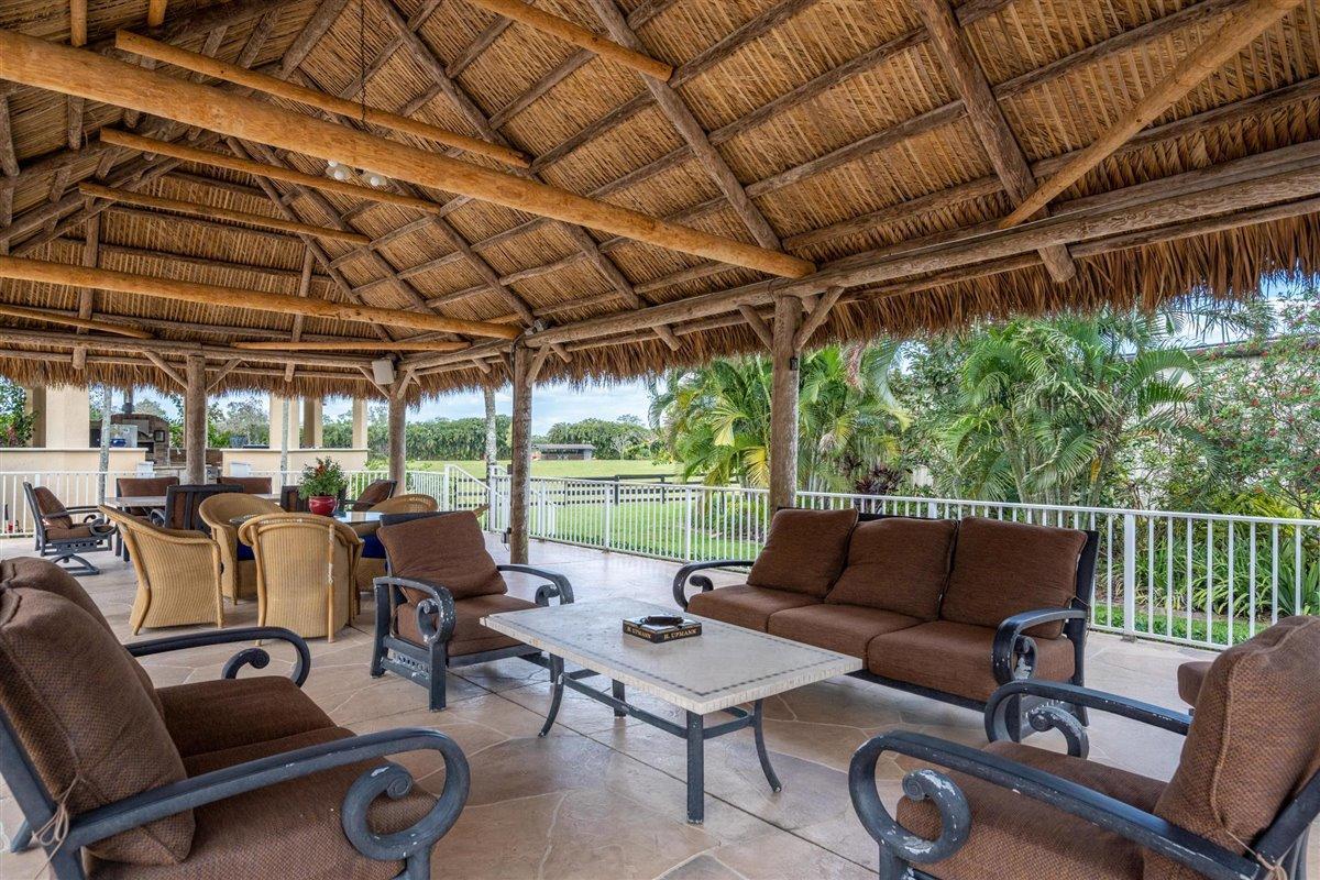 Resort-style tiki huts.