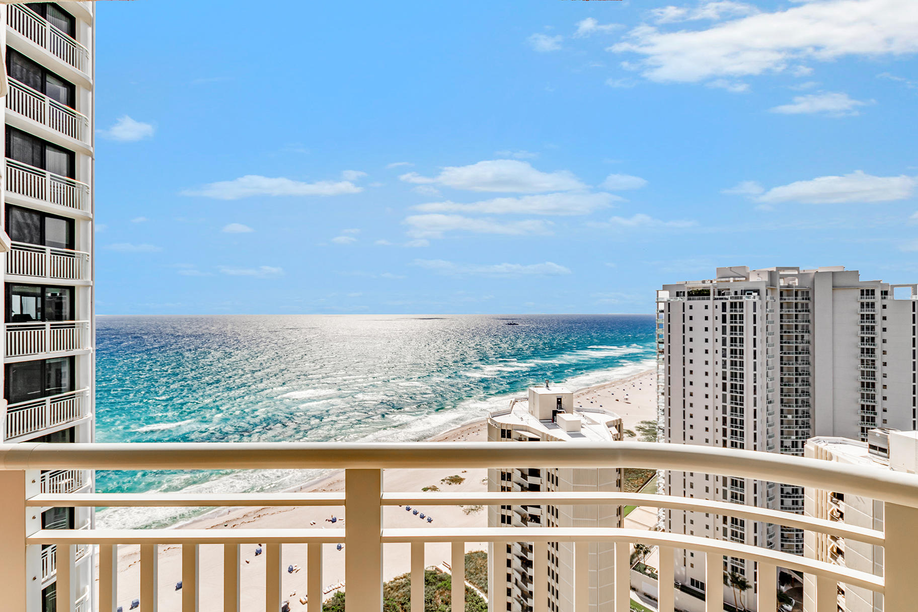 ''This two-bedroom corner condo, is not only one of the most beautifully & newly furnished Tiara condominiums, but has spectacular and vast views of the ocean, beach area, and the Intracoastal.  Floor to ceiling windows, which provide the continuous oceanfront view along the bedrooms and living room create the feeling of desired openness and spaciousness throughout the condo.  Please note that in the evening the Intracoastal view incorporates lighting that presents a magical view of the Singer Island Bridge and the wonderful boating waterway known as Sailfish.  Amazing Amenities: 2 restaurants, Men's and Women's Fitness Centers,  Swimming Pool Billiards Room, Saunas, Walk to Restaurants, Post Office, Banks, Stories.  See Documents regarding Furniture Furnishings