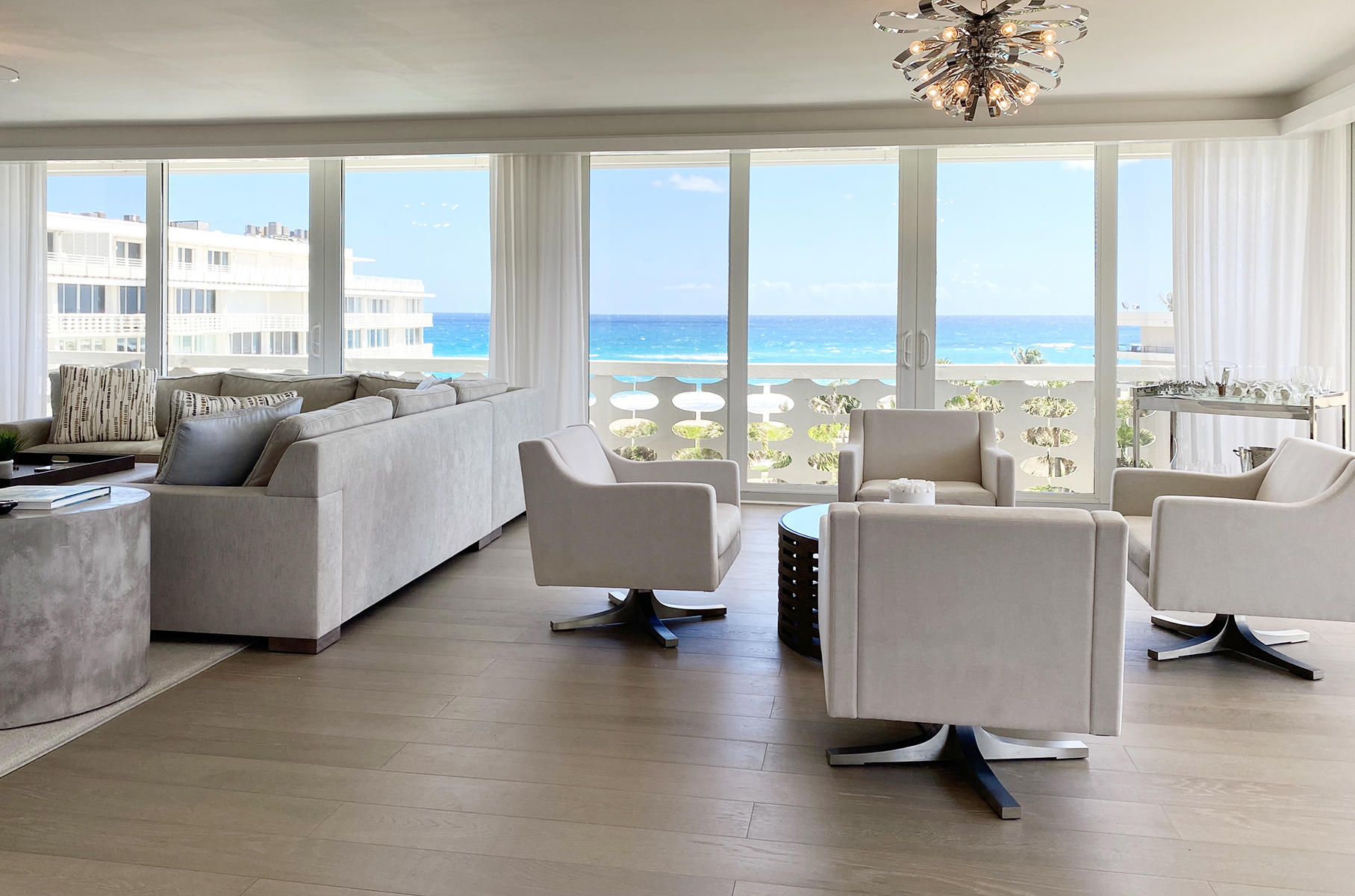 Gorgeous Ocean Views from every room! Enjoy the size, scale, and comfort of a private home with all the conveniences of a premier full service condominium. This spectacular 4,000+ square foot residence is comprised of 4 bedroom suites, 5.5 baths, including a dual in the owners suite and a large office/media room. Exquisite down to the studs renovation with tasteful finishes throughout. Delight in stunning sunrises and sensational sunsets from sun filled east, south, and west exposures. Large poolside cabana and private garage offered separately. Prime In Town location.