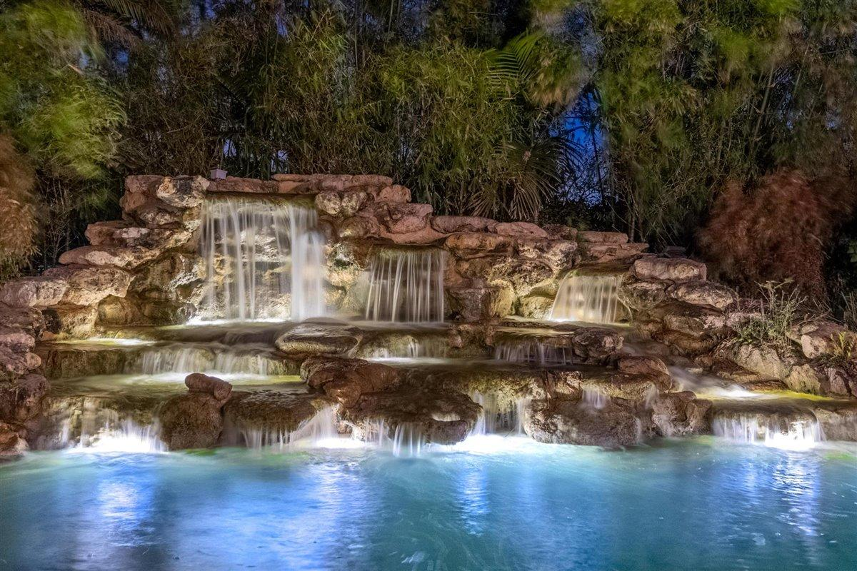 Waterfall and pond area.