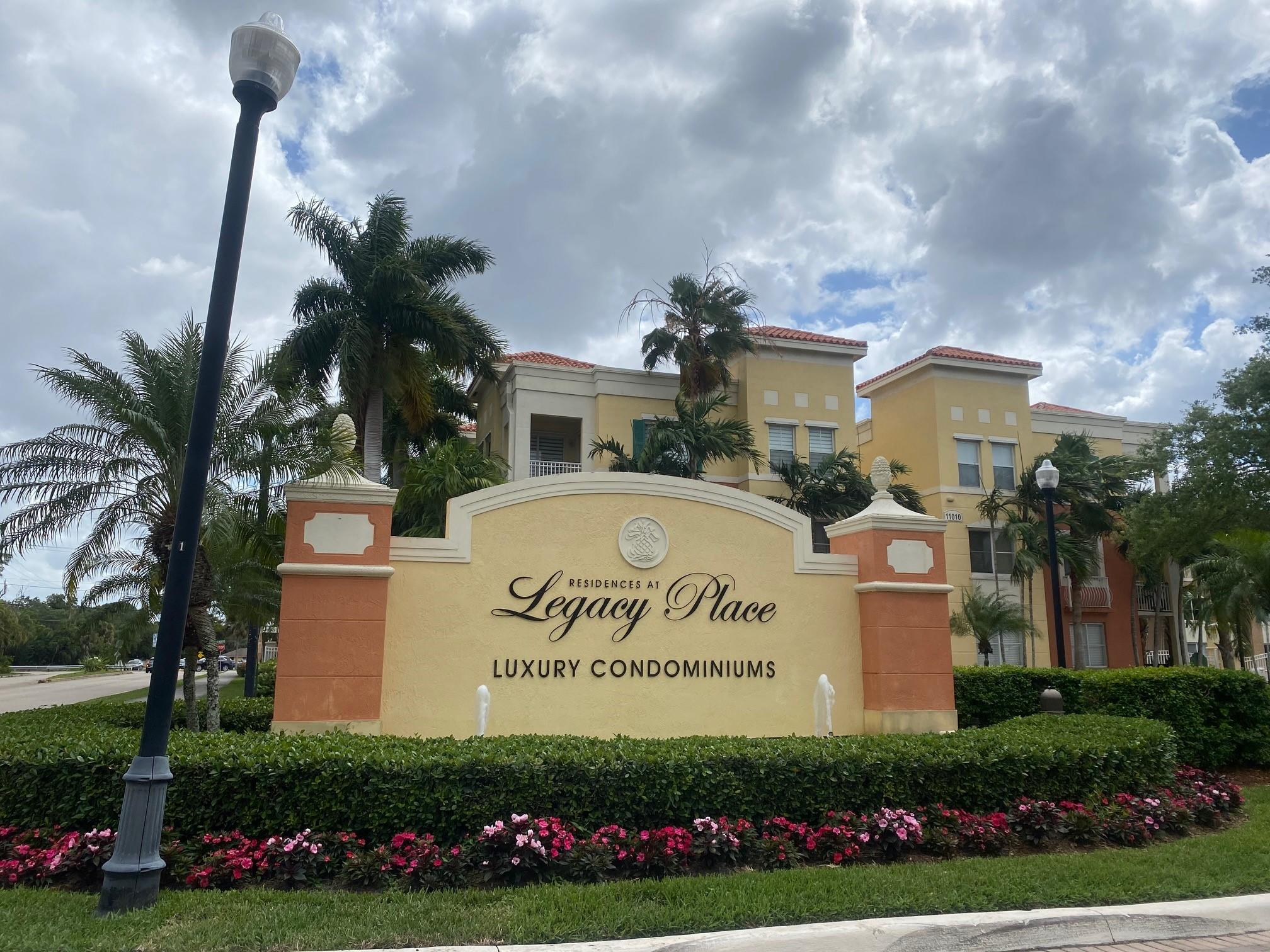 Spacious 3 bedroom, 2 bathroom, luxury condominium located in the desired Palm Beach Gardens' Legacy Place. Unit features tile throughout, granite eat-in kitchen, 2nd Bedroom can be utilized as a 2nd Master Bedroom, and Community resort Pool, Spa, Conference Room, Fitness Center, and much more. Near the Palm Beach Gardens Mall, Shopping, restaurants, Beach, Highways, and entertainment.