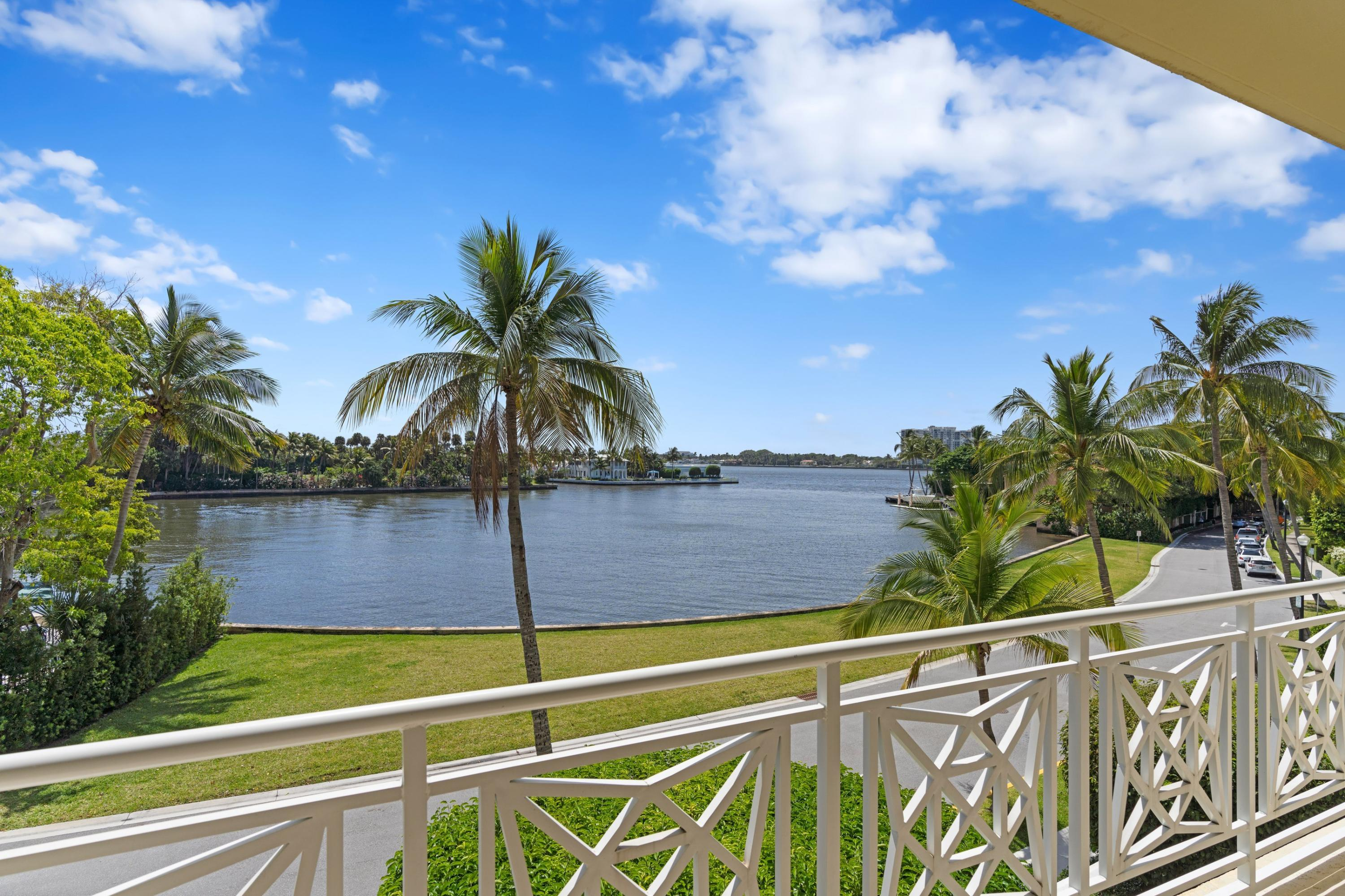 Love the size and scale of this impressive custom renovated 3 Bedroom, 3.1 Bath coop, which offers expansive direct Intracoastal water views. This gracious and beautifully proportioned 2,762 SF luxurious apartment has a living room, den\media room, dining area with bar, custom wood paneled office and chef's kitchen, all with high ceilings. Hurricane impact windows with electric shades, Lutron lighting and sound system throughout. Completely turnkey as it comes furnished down to the linens and a total of 9 televisions; one in every room. An elevator takes you directly to the apartment for privacy. The Villas is a full service, White Glove Building with a new fully equipped gym. One small pet allowed. One covered parking space. Enjoy living on the QUIET end of world famous Worth Ave!