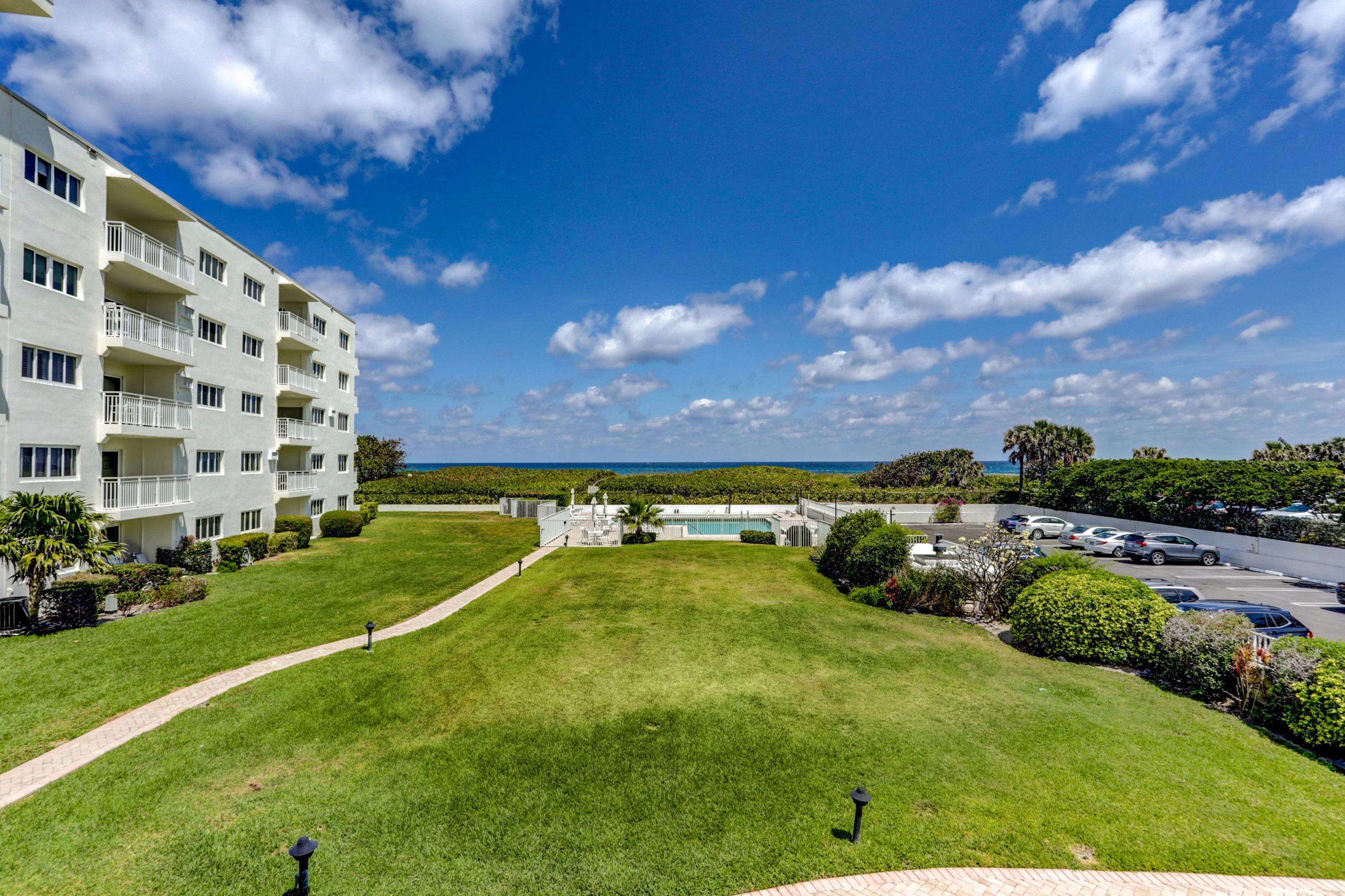 Very Rare opportunity!  These properties do not come along often.  This 1bdr 1 bath unit at Palm Beach Shores Apartments has direct Ocean views to the quiet and expansive beach of the Southern tip of the Island.  Private beach access and steps to the world class Palm Beach Inlet.  The mid-century modern design has recently had a complete updating including concrete work and painting, balconies tile and railings replaced, remodeled lobby, and social area, pool work and bbq grills...and the list goes on.  This unit has New Impact windows, New AC, new Water Heater.