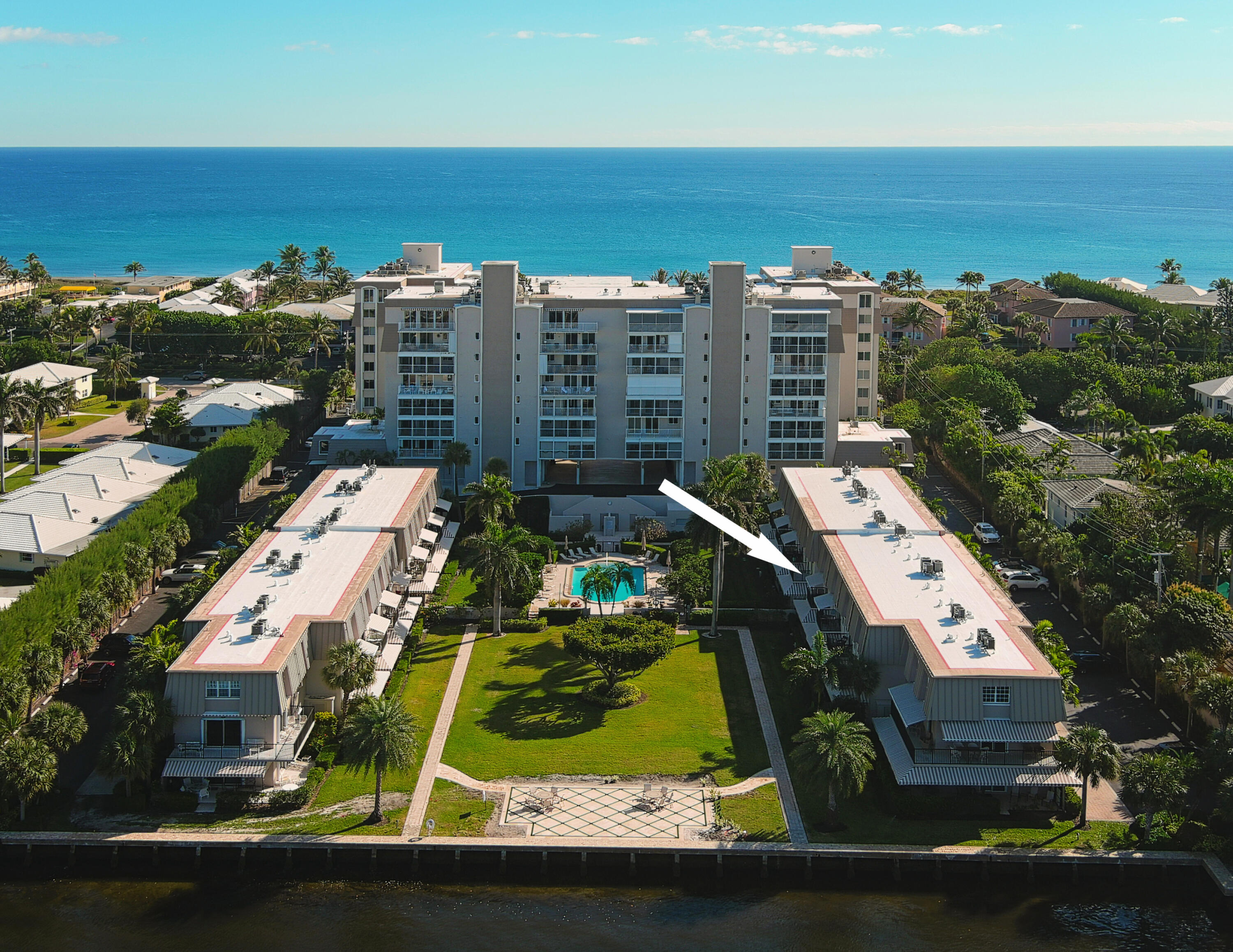 Everyone wants a beach home with amazing views at the Delray Beach Club Apartments! Come see this beautiful spacious 3 story high ceilings, 3 bedrooms, 3.5 baths beach townhouse right across the street from your private beach entrance. 2 outdoor living areas with water views from a large balcony and a beautiful porch where you can walk right out to the Intracoastal. It offers a private elevator, 2 AC units, a utility room, CA wood shutters throughout, a private beach access, magnificent Intracoastal pool, plus 2 hotel rooms for your overflow guests. It also has 1 covered and 2 uncovered parking spots. For security the complex has a 24/7 security guard and a combination of impact windows with shutters for sliders.