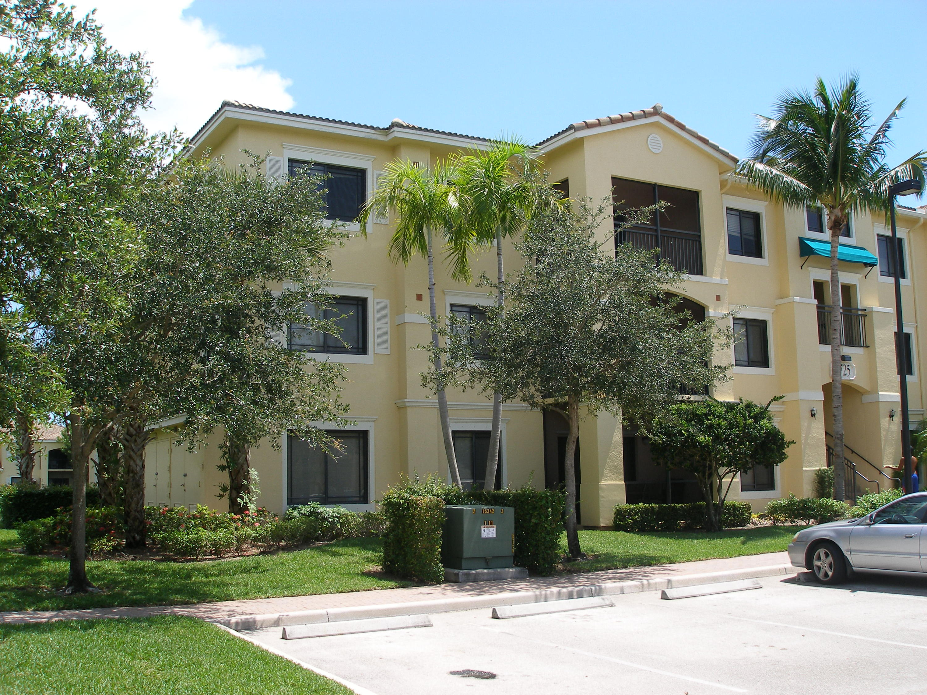 Fabulous 3rd floor condo with 3 bedrooms, 2 full baths in resort style San Matera, Sarento's neighborhood. Screened covered balcony off of the living room, some upgrades, full washer and dryer, carpeted, quite, clean and bright. NO cats. Community has plenty of amenities which are, resort pool, tennis, sauna, work out gym, business center, game room, kids play area. Close to all the shopping you can imagine with Gardens Mall, Downtown at the Gardens and Legacy Place also restaurants, banks, specialty shops, movie theater, whole foods grocery store and so much more. I-95 is just minutes away. Location, Location of this neighborhood are great. Tenant occupied till 6/15/2017. Small pet will be considered up to 40lbs with $500 non-refundable pet deposit. NO CATS