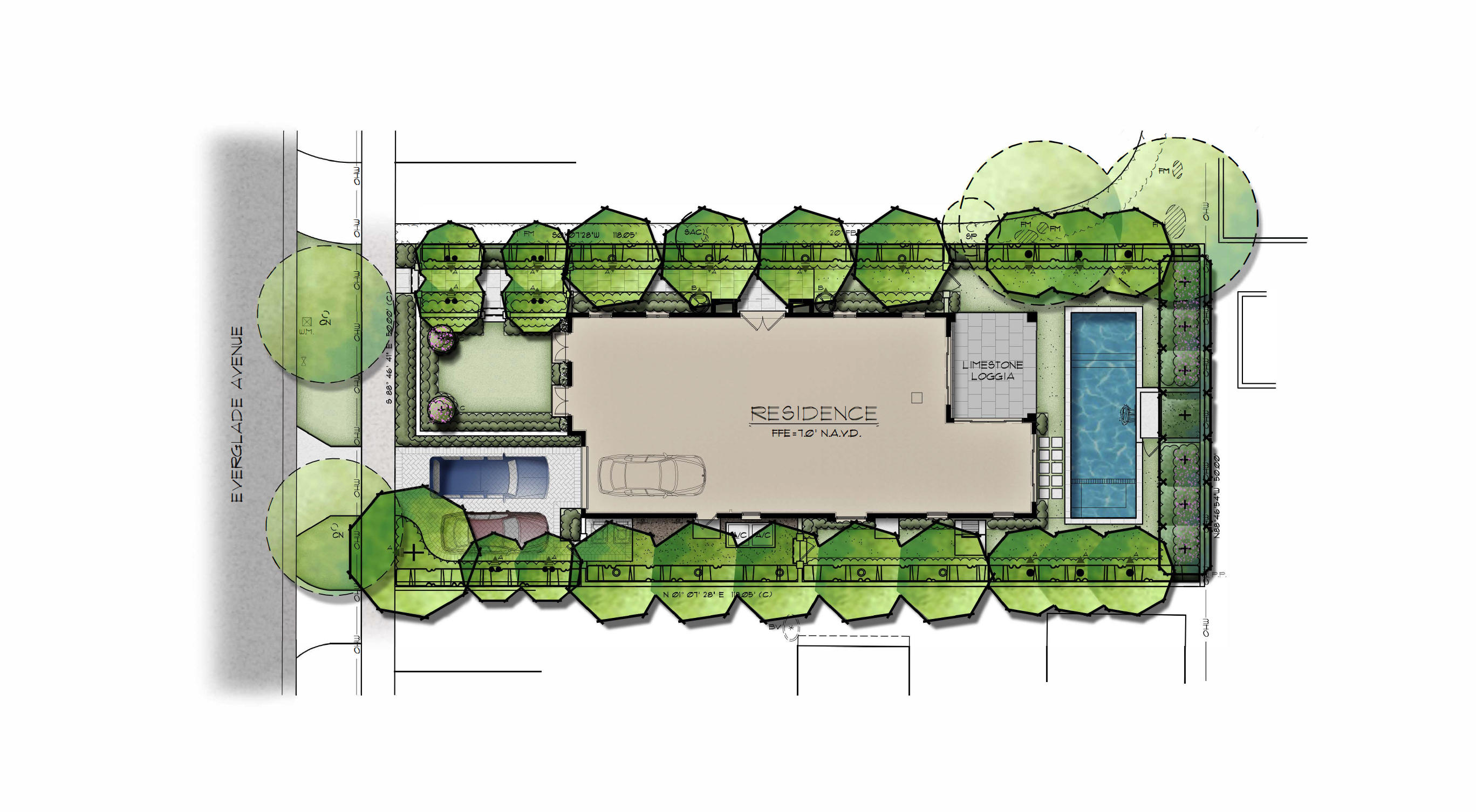 Site plan with cars color
