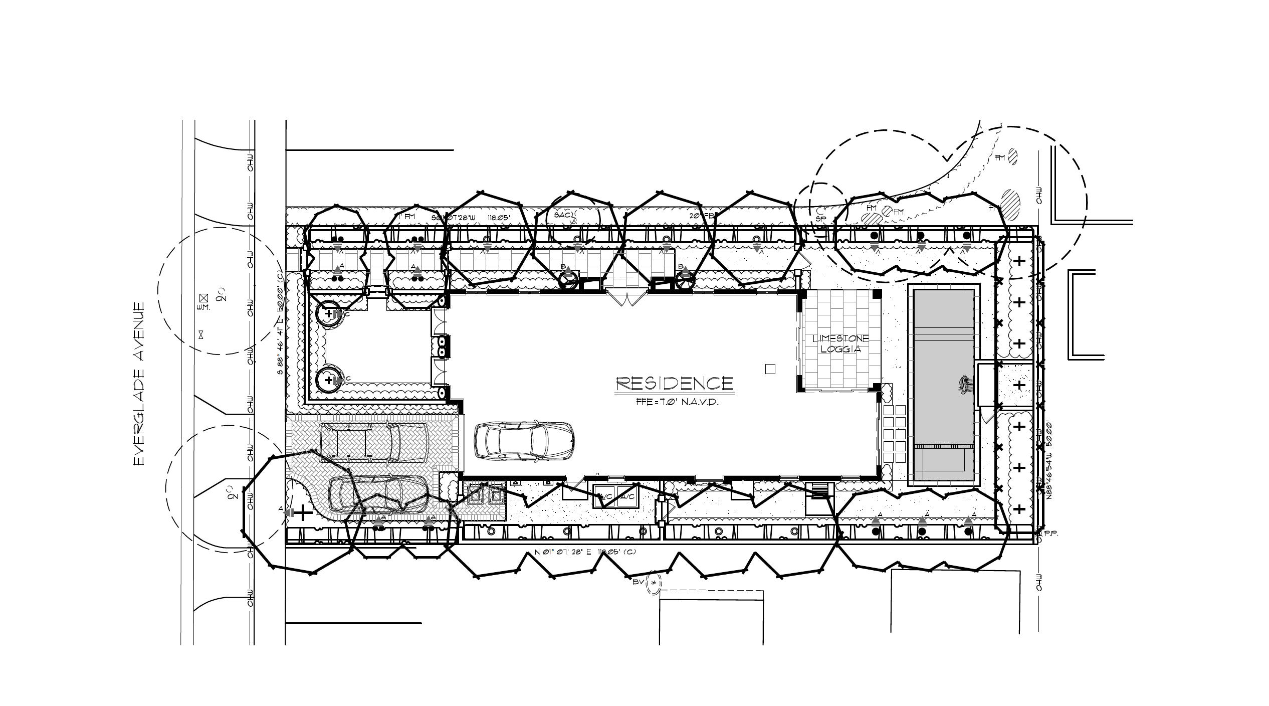 Site Plan with cars B&W