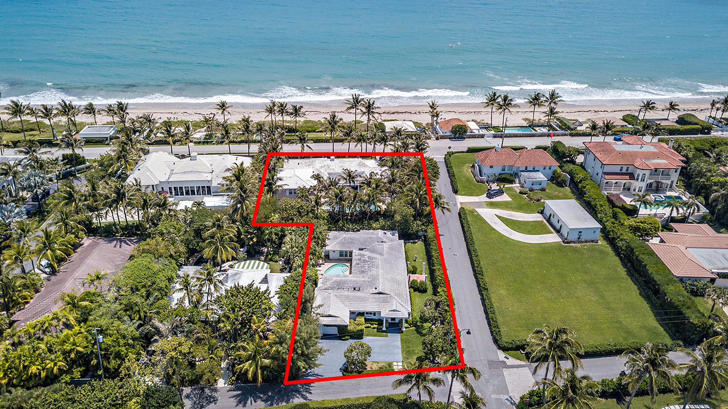 Rare, oceanfront double-lot in the North End. The listing includes adjacent property 1287 N. Ocean Way. With two coveted North End properties, enjoy a family compound with main house and guest house, or with 28,000+/- SF of combined land, tear down to build a 10,000+/- SF oceanfront estate. Set against N. Ocean Way and N. Ocean Blvd., enjoy the privacy and convenience of a back alley for your custom-built estate. The Island's best beach is at your front door, and beach access includes a private entrance and entertaining space for Kenlyn Road residents only.