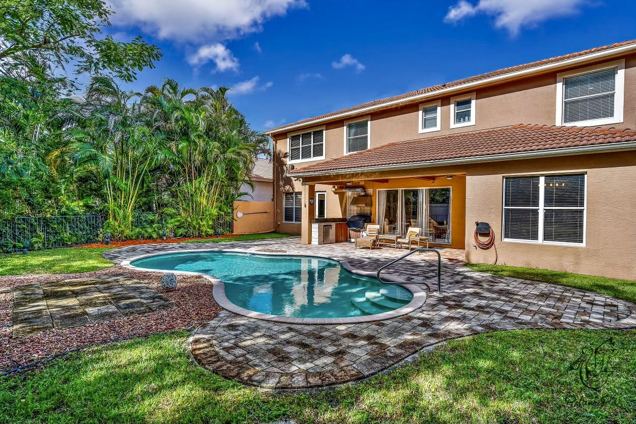 **MINIMUM ONE YEAR LEASE**Sun-Filled, Fully Furnished Family Pool Home. 5 Bed/4 Bath with Downstairs Guest Suite (5th Bedroom). Tropical Pool Setting with a Large Backyard & Extended Patio. Open Modern Kitchen with Top Notch Appliances. Separate Dining, Living, Breakfast & Family Rooms, Plus Den. Upstairs Master Bedroom has Pool & Backyard Views. Spacious 2nd, 3rd,4th,5th Bedrooms. Covered Patio/Lanai with Outdoor Summer Kitchen is Perfect for Entertaining. Large Fenced-In Backyard has Tree-Lined Views. High Ceilings Throughout. Super Extended Driveway. Enjoy All the Resort-Like Amenities that Mirabella has to Offer. Minutes to the Beach, Numerous Golf Facilities, Downtown Palm Beach Gardens & the Airport. Credit and Background Check required, along with Contract to Lease and Rental Application. First, Last, Security, Minimum 1 year lease.