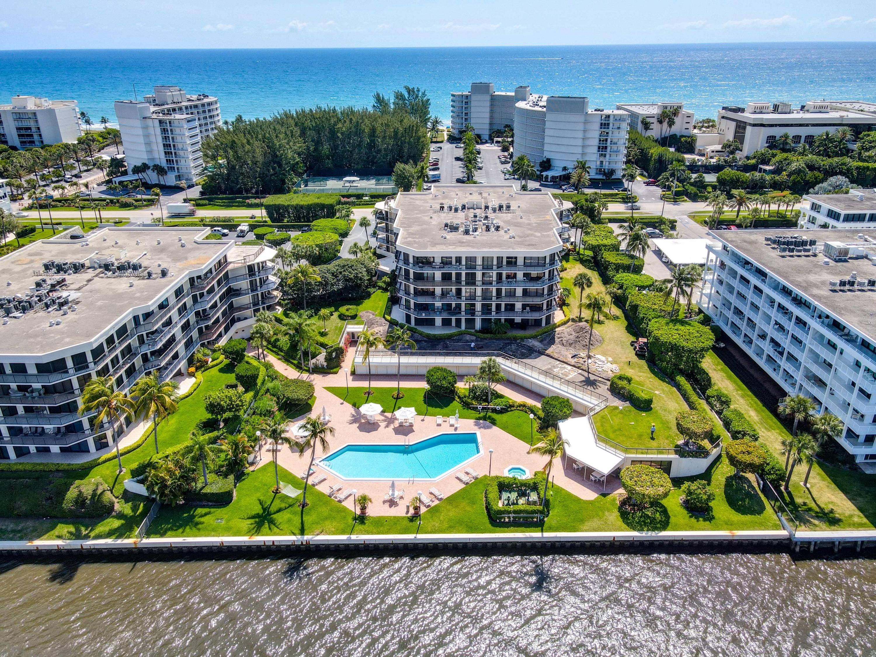 Sutton Place is a very desirable Intracoastal building in Palm Beach with garage parking, 24 hour doorman service and all new gym, clubhouse, hallways and lobbies. The deeded beach access is private and the beaches at this location are wide. Enjoy the bike/walking path along the waterfront and AIA. The newly renovated Palm Beach Par 3 Golf Course and oceanfront restaurant are exceptional, as are the new Publix grocery store and shopping center. 306S is a 2 bedroom/ 2 bath unit . Great value with new kitchen and well maintained space. Large balcony with views of the water and sunsets. Washer/Dryer in the unit with loads of closet space.  Hallway closet for additional storage and is where the newer AC unit is, keeping the sound of the unit out of the actual condo. One garage parking spot and one outdoor spot. Pool and clubhouse directly on Intracoastal. Great management. Great value...Don't miss this opportunity!!