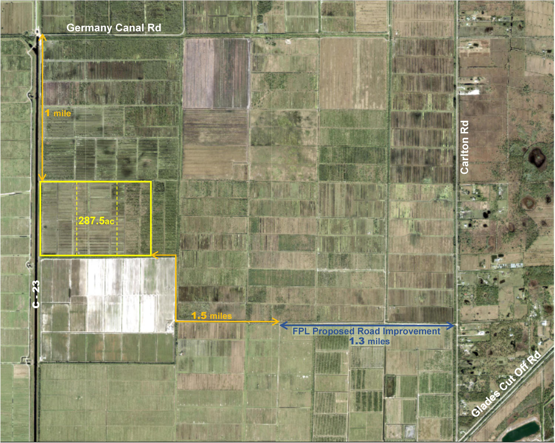 Aerial w markup, roads & distances