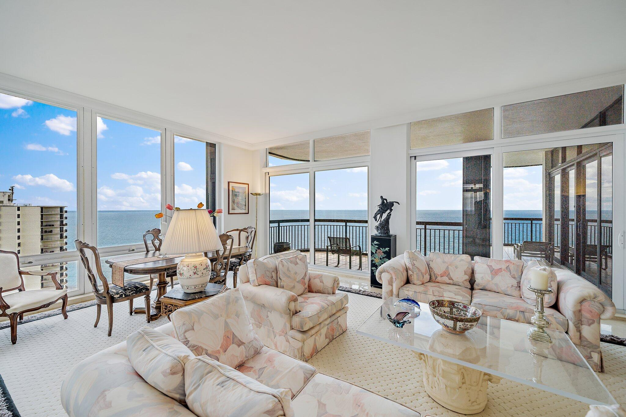 This Penthouse unit with 10' ceilings enjoys panoramic views of the ocean, intracoastal, and MacArthur State Park.  Eastpointe II was designed with just three units per floor, and none of the exterior walls of each unit meet for maximum privacy.  This 2BR, 2.1 BA suite also has a large den with some of the finest views looking north up Singer Island.