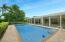 resort style pool with privacy hedge