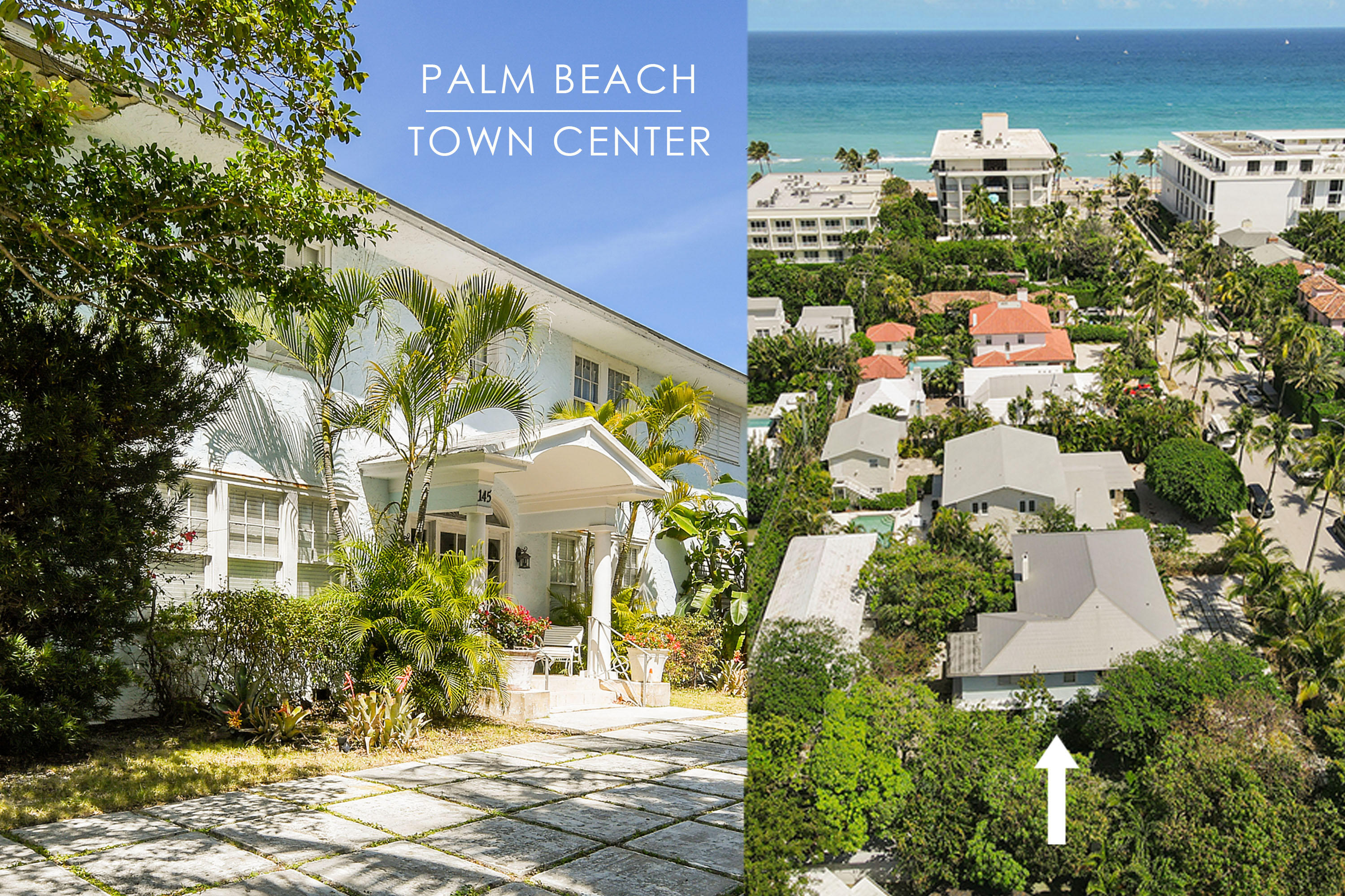 Palm Beach Estate, ideally located in the center of town on the first block from the beach, only six properties west of the Atlantic Ocean! Beautifully situated in the heart of exclusive Palm Beach, steps to the beach, Worth Avenue, world-renowned art galleries, shops, restaurants, hotels, post office and Town Hall.  Own this magnificent property and be a part of Palm Beach's adored culture, lifestyle, and society.  This vast, quarter-acre lot of 11,247 sqft includes a private, lovely, landscaped garden with mature mango trees and a huge parking area and a wide circular driveway.The main house remains mostly in its original state, preserving her 1920s charm. The property may be restored to her original glory or build your new dream mansion tailored to your specifications. The main house provides 3,278 sqft, while the guest house offers 2,193 sqft. The compound provides a total of 5,471 sqft and two floors of charming Palm Beach-style living space.