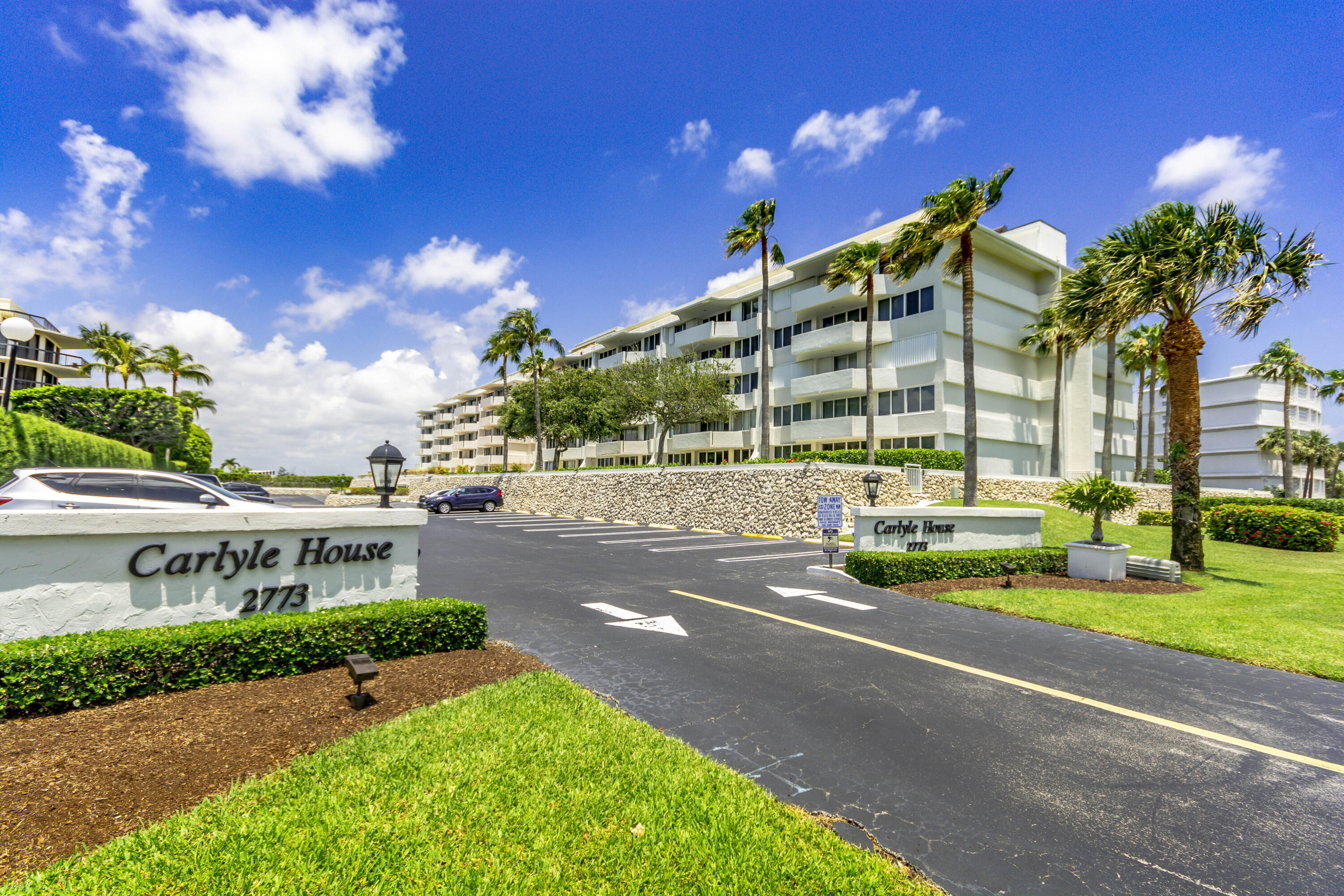 Enter This Beautifully Renovated Spacious 2/2 Split Floor Plan Condo & Be Taken by The Inviting Balcony Views of the Intracoastal Waterway on the Left & the Salty Atlantic Ocean to the Right. The Modern Kitchen Features Stainless Steel Appliances, Granite Counters & Matching Granite Backsplash. The Features Continue as this Condo Offers Brand New Impact Glass, Crown Molding Throughout, & Top of the Line Washer & Dryer. Both Bedrooms Offer Large Walk-In Closets, Gorgeous Bathrooms, with the 2nd Bathroom Showcasing a Jacuzzi Tub. This Condo Comes with a One Car Under Building Parking Spot. The Carlyle House Offers 24 Hour Door Service, Exercise Facility & Community Rooms. A Private Deeded Walkway Directly Across the Street Offers Quick Access to the Ocean & Beachfront. Recent Renovations Include a Stunning Lobby, New Elevators, Restored Concrete & Updated Common Areas. Very Close to Golf, Restaurants, Shopping & the Many World Class Amenities of Palm Beach & Worth Avenue.