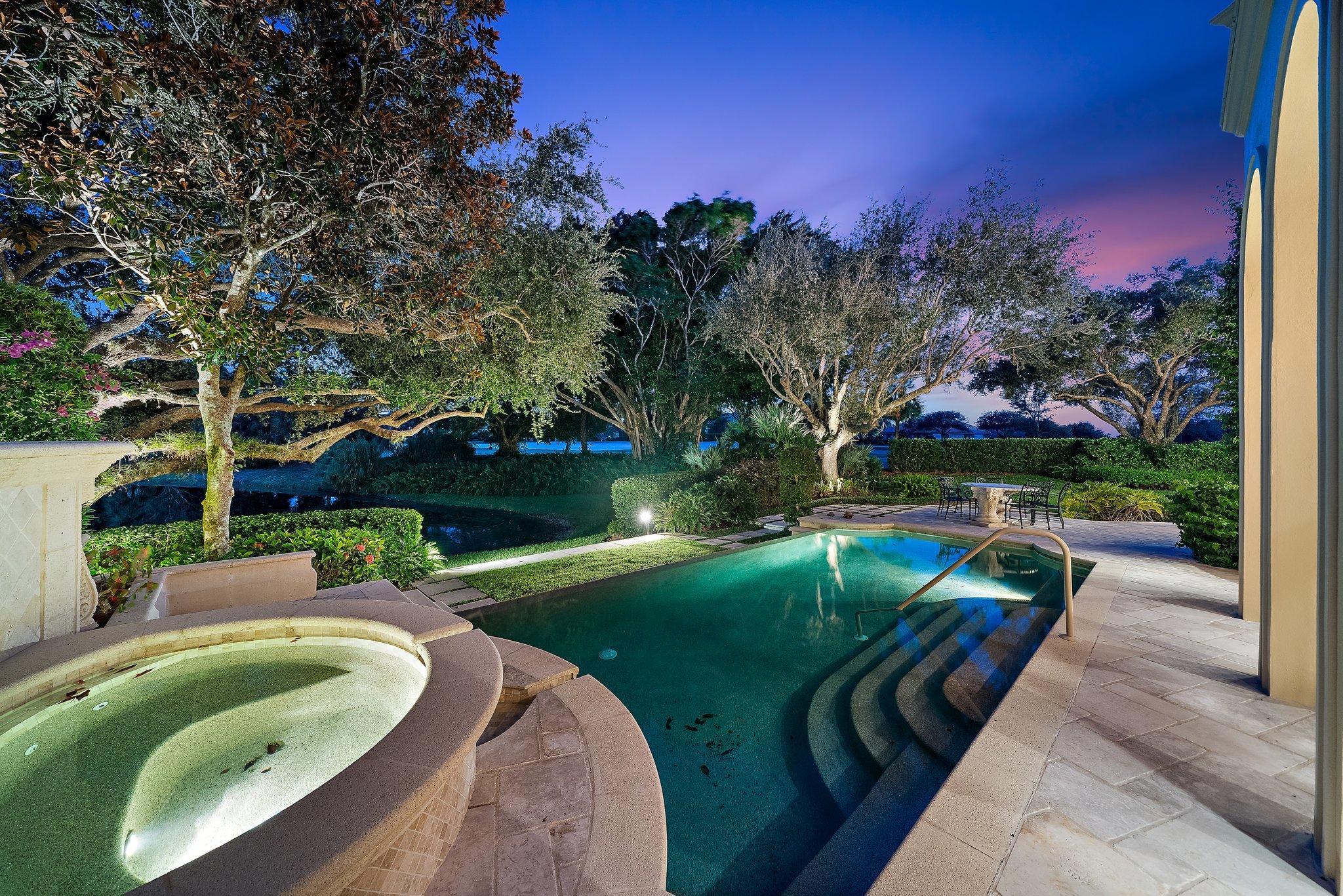 pool/spa at dusk