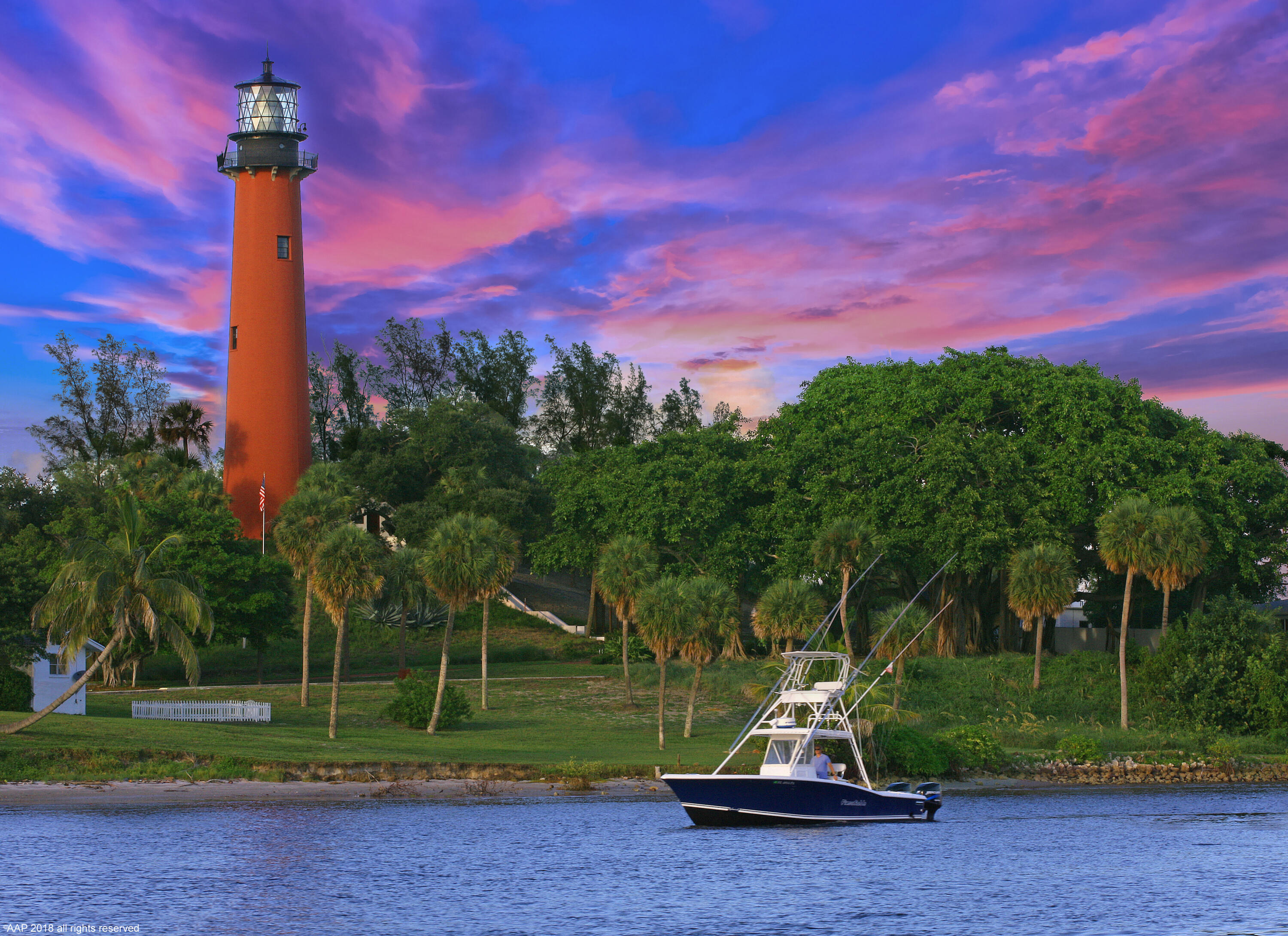 Jupiter Lighthouse with Boat 2018 AAP