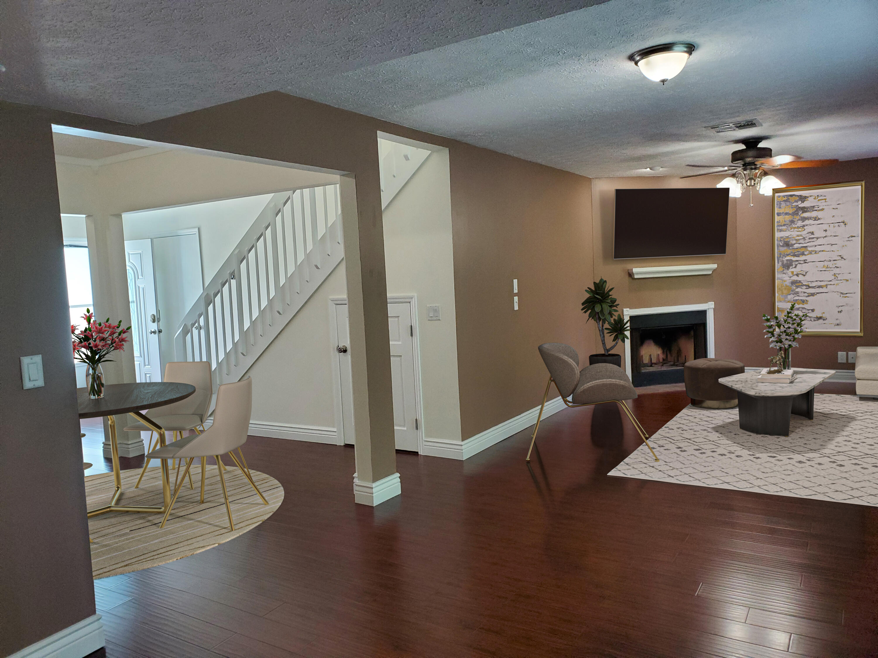 Open kitchen, living, dining room