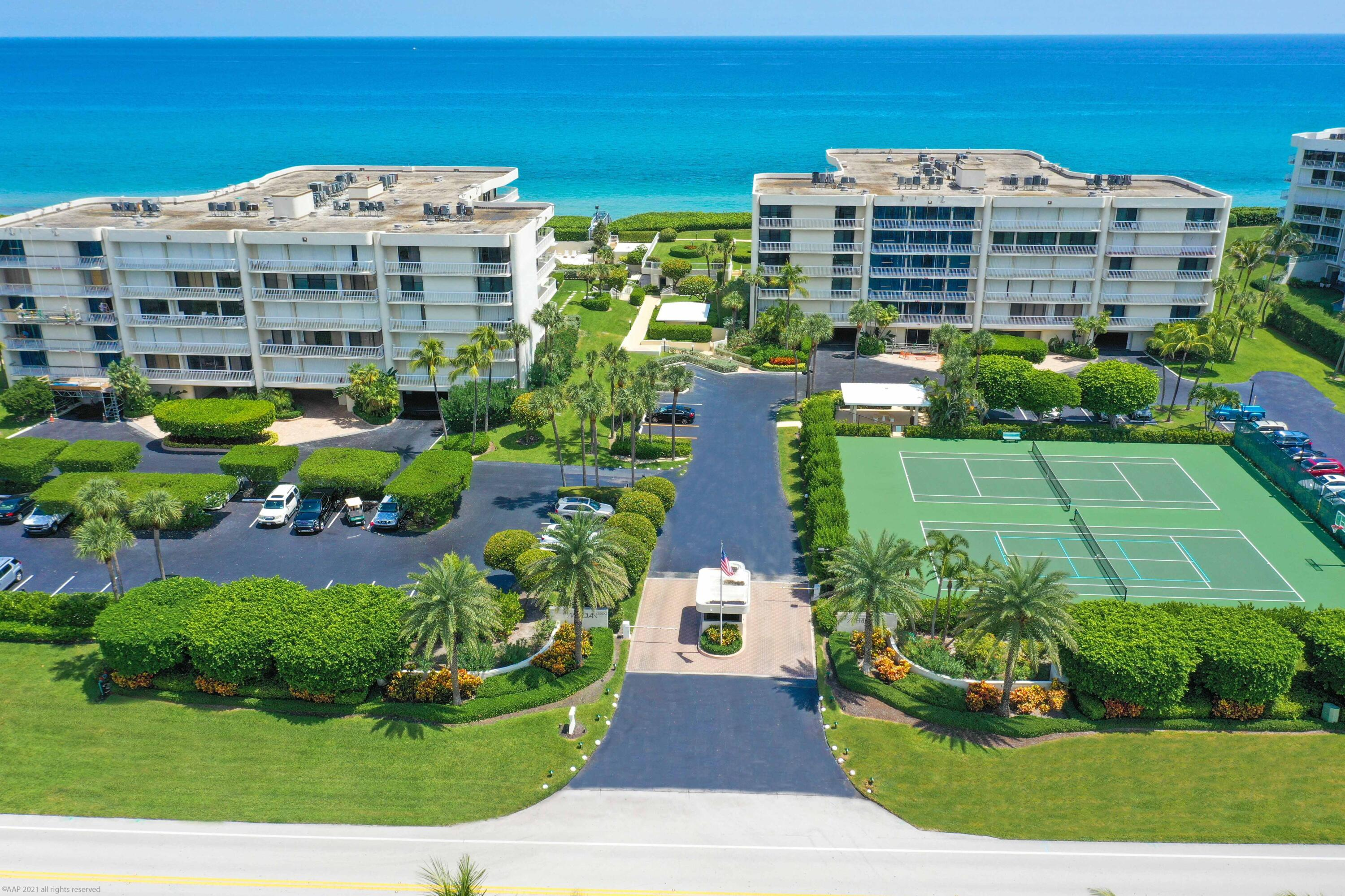 Large corner unit with expansive views of both the Ocean and the Intracoastal. Unique design allows for two balconies and both East and West exposure from the Master bedroom. Open floor plan brings together a large Living Room, Dining room, and Den, all surrounded by Impact doors coated in white on the inside of the unit. Remote window shades, wet bar, and built-ins complete the upgrades in this luxury Oceanfront home. The building includes a manned security gate, full-time manager, tennis courts, heated pool and spa, fitness center, large community room, garage parking, and more. Completely furnished and ready to move in.1st 1/4 maintenance is $6,225.78 which includes reserves.  1st 1/4 maintenance is $6,225.78 which includes reserves. The 2nd, 3rd & 4th 1/4 maintenance is $4,028.45 each.
