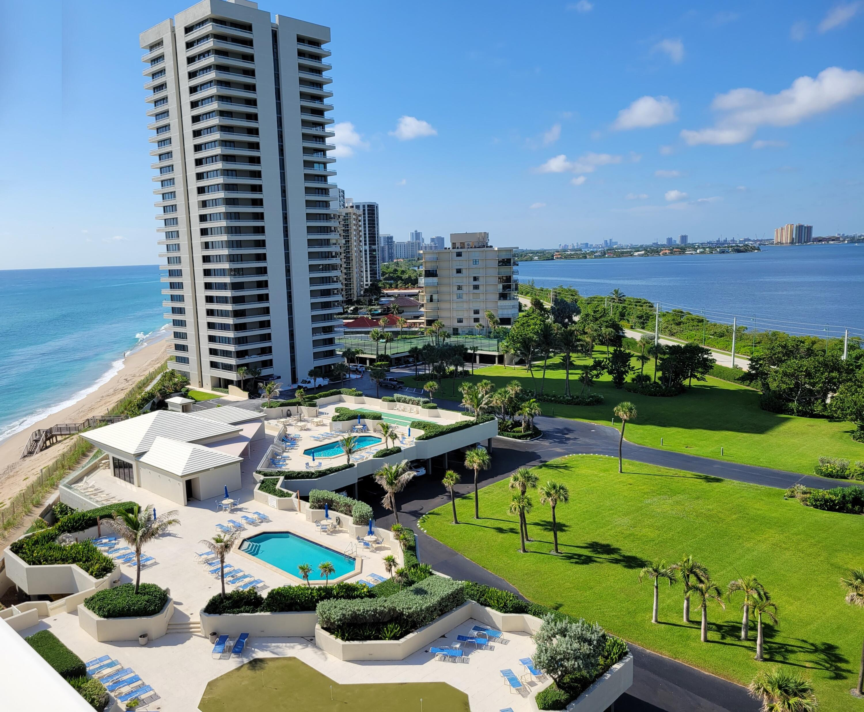 This Water Glades unit is in the desirable B column of the building providing a SE exposure from wrap-around balconies with beautiful views of the ocean and Intracoastal. Enjoy the ocean and intracoastal during the day and the night lights of the city in the evening. The unit has been completely remodeled.  The Kitchen has been opened up to allow you to enjoy all the views while entertaining and new cabinets, counters and appliances have been installed. The baths have been updated and floors have been updated. The building is close to The Gardens Mall and PGA Blvd with shopping and restaurants at Oakbrook Square. You can't beat the location, only 15 minutes from downtown West Palm Beach and the Airport.    Enjoy your own ocean beaches on the Island or go 20 minutes north to jupiter and Juno Beach.      In the real estate business when there is a property that has it all we call it a Creampuff.   This is a Creampuff!!