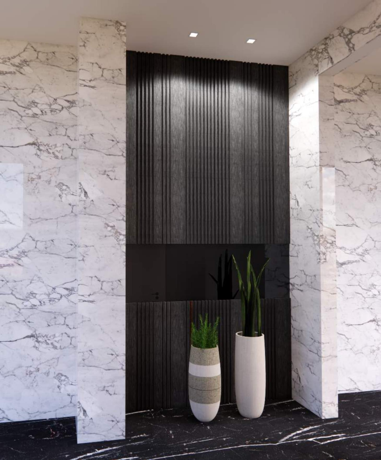 Ash gray millwork paneling and  mirrors
