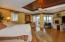 Lovely wood floors, under-lit bed platform