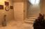 Elevator door and interior stairway