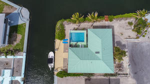 Aerial view with elevated swimming pool.