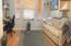Wood laminate flooring and crown moldings!
