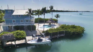Exterior, protected dockage with boat lift, heated pool & chickee