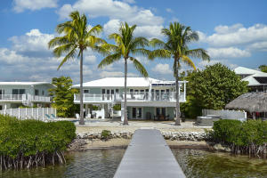 Picturesque view of the house from the dock
